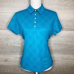 Nike Golf Tee Size Medium Blue Fit Dry